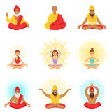 Yogis and sages, people in the Lotus position, expansion of consciousness and meditation Stock Images