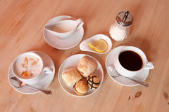 Yogrurt delicious breakfast with biscuits Royalty Free Stock Image