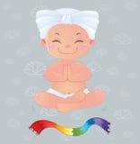 Yogui en la meditación que se sienta en la posición de loto Ilustración del Vector