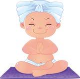 Yogui en la meditación que se sienta en la posición de loto Stock de ilustración