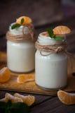 Yogur blanco natural del organig fresco en los tarros de cristal con la mandarina Imágenes de archivo libres de regalías