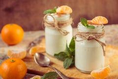 Yogur blanco natural orgánico fresco en los tarros de cristal con la mandarina Imagen de archivo