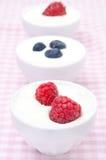 Yogur con diversas bayas frescas en cuencos Fotografía de archivo libre de regalías