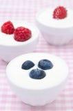 Yogur con diversas bayas frescas en cuencos Fotos de archivo libres de regalías