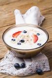Yogur con el granola y los arándanos maduros de las bayas Imagen de archivo libre de regalías