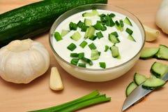 Yogur con el pepino Imagen de archivo