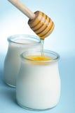 Yogur con la miel Imagen de archivo libre de regalías