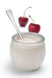 Yogur con las cerezas Imagen de archivo libre de regalías