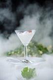 Yogur con las cerezas en el hielo seco Foto de archivo