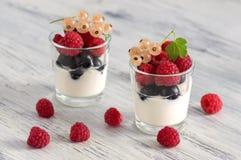 Yogur con las frambuesas y las pasas en un pequeño vidrio Grosella negra, pasa blanca Fotos de archivo