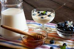 Yogur con las fresas y la miel Fotos de archivo libres de regalías