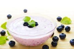 Yogur de arándano en tazón de fuente Fotografía de archivo libre de regalías