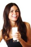 Yogur de la bebida de la mujer Foto de archivo libre de regalías