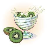 Yogur de la imagen con el kiwi Imagenes de archivo
