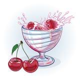 Yogur de la imagen con las cerezas Imágenes de archivo libres de regalías