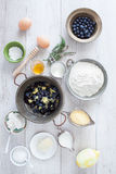 Yogur de la receta de la crepe Imagen de archivo