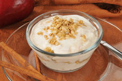 Yogur del canela de Apple Fotografía de archivo