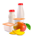 Yogur en rectángulos y mango separados Fotografía de archivo