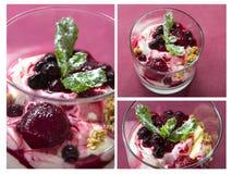 Yogur griego para el desayuno Fotografía de archivo libre de regalías