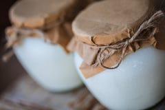 Yogur hecho en casa de la leche en tarros Foto de archivo libre de regalías