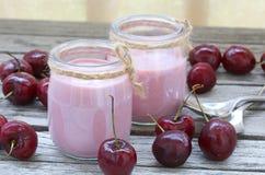 Yogur hecho en casa natural de la cereza primer Fotos de archivo