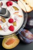 Yogur mezclado con los pedazos de la fruta Fotos de archivo
