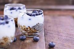 Yogur y Chia Parfait deliciosos del kéfir imagenes de archivo
