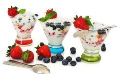 Yogur y postre helado de frutas Imagenes de archivo