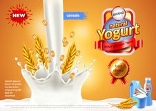Yogurt ads. Pouring milk and cereals vector background. Yogurt ads. Pouring milk and cereals. 3d illustration and packaging Stock Image