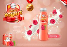Yogurt ads. Raspberries in milk splash vector background Stock Photo