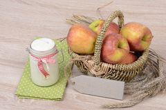 Yogurt and apples Royalty Free Stock Photos