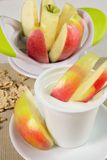 Yogurt with apples Stock Photography