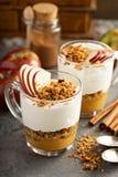 Yogurt and applesauce parfait with granola Royalty Free Stock Photos