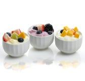 Yogurt  Assortment With Fruits And Berries Stock Photos