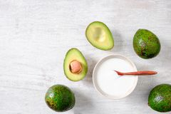 Yogurt and avocado Healthy breakfast royalty free stock photo