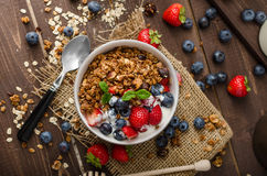 Yogurt with baked granola and berries in small bowl Stock Images