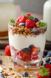 Yogurt with baked granola and berries in small glass Royalty Free Stock Photo