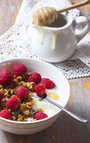 Yogurt with baked granola  in small bowl and raspberries.  Homem. Ade yogurt. Selective focus Royalty Free Stock Photography