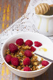 Yogurt with baked granola  in small bowl and raspberries.  Homem Royalty Free Stock Images