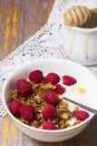 Yogurt with baked granola  in small bowl and raspberries.  Homem. Ade yogurt. Selective focus Royalty Free Stock Images
