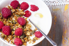 Yogurt with baked granola  in small bowl and raspberries.  Homem. Ade yogurt. Selective focus Royalty Free Stock Photo