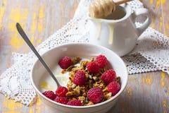 Yogurt with baked granola  in small bowl and raspberries.  Homem. Ade yogurt. Selective focus Stock Photos