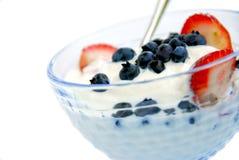 Yogurt and berries stock photo