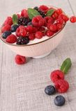 Yogurt and berries Royalty Free Stock Photos