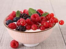 Yogurt and berries Stock Image