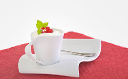 Yogurt with berries. And background Stock Photography