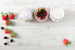 Yogurt With Berries Background Royalty Free Stock Photos