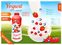 Yogurt with berries in bottle. Fruits and milk splashes. Royalty Free Stock Image