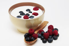 Yogurt with berries stock photography