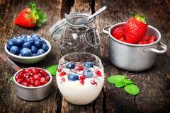 Yogurt, berries, chia seeds, healthy breakfast Stock Image